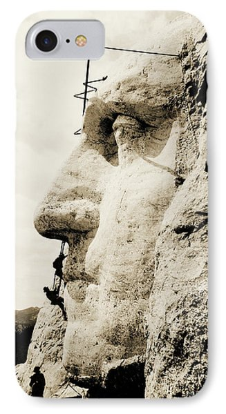 The Construction Of The Mount Rushmore National Memorial, Detail Of George Washington IPhone Case by American School