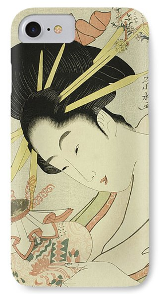 The Courtesan Hanahito Of The Ogiya And Attendants Sakura And Momiji IPhone Case by Ichirakutei Eisui