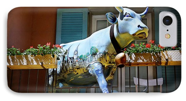 The Cow On The Balcony IPhone Case by Carol Japp