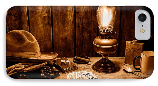 The Cowboy Nightstand - Sepia IPhone Case by Olivier Le Queinec