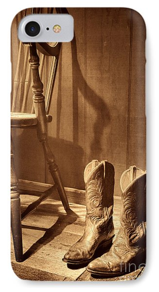 The Cowgirl Boots And The Old Chair IPhone Case by American West Legend By Olivier Le Queinec