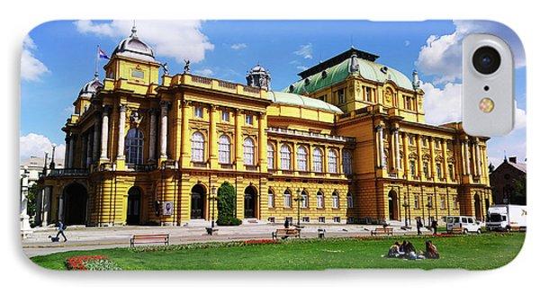 The Croatian National Theater In Zagreb, Croatia IPhone Case by Jasna Dragun