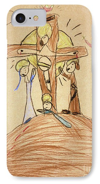 IPhone Case featuring the drawing The Crucifixion By Fr. Bill At Age 5 by William Hart McNichols