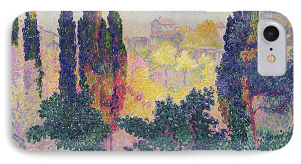 The Cypresses At Cagnes Phone Case by Henri-Edmond Cross