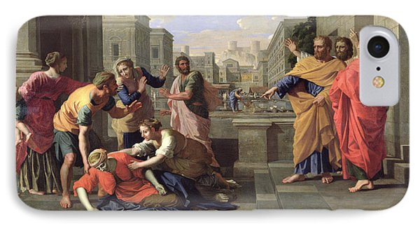 The Death Of Sapphira Phone Case by Nicolas Poussin