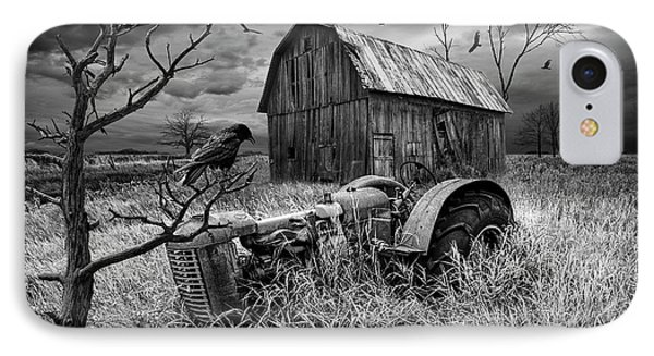 IPhone Case featuring the photograph The Decline And Death Of The Small Farm In Black And White by Randall Nyhof