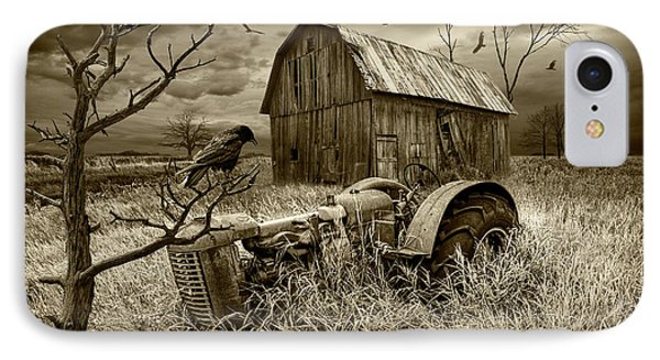 IPhone Case featuring the photograph The Decline And Death Of The Small Farm In Sepia Tone by Randall Nyhof