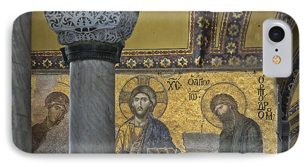 The Deesis Mosaic With Christ As Ruler At Hagia Sophia Phone Case by Ayhan Altun