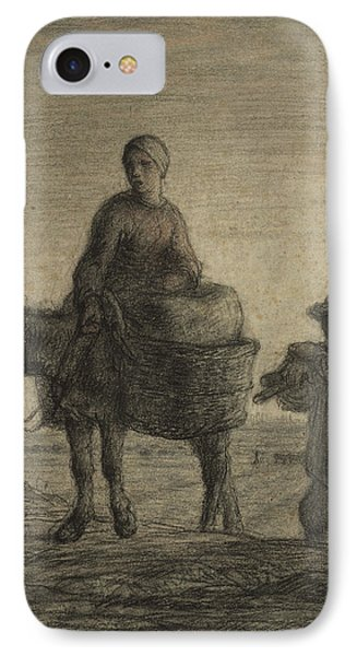 The Departure For Work IPhone Case by Jean-Francois Millet