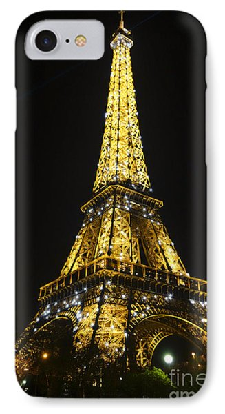 The Eiffel Tower At Night Illuminated, Paris, France. IPhone Case by Perry Van Munster