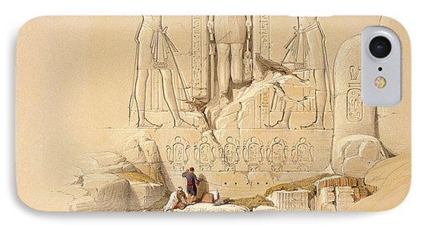 The Entrance To The Great Temple Of Abu Simbel IPhone Case by David Roberts