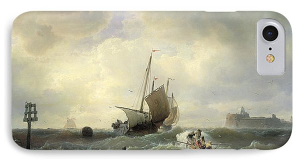 The Entrance To The Harbour At Hellevoetsluys Phone Case by Andreas Achenbach