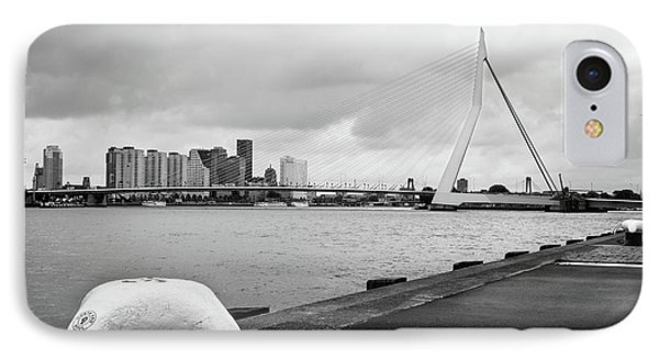 IPhone Case featuring the photograph The Erasmus Bridge In Rotterdam Bw by RicardMN Photography