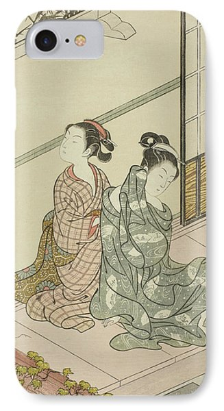 The Evening Bell Of The Clock  IPhone Case by Suzuki Harunobu