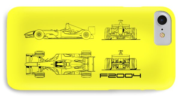 The F2004 Gp Blueprint - White IPhone Case by Mark Rogan