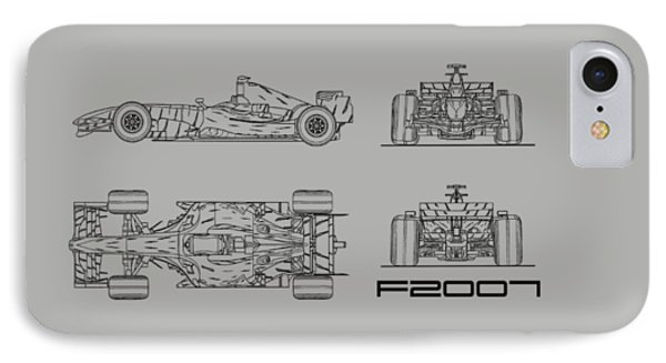 The F2007 Gp Blueprint - White IPhone Case by Mark Rogan