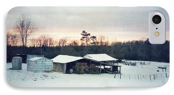 The Farm In Snow At Sunset IPhone Case