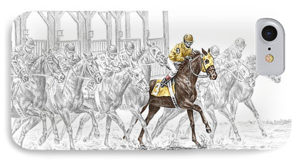 The Favorite - Thoroughbred Race Print Color Tinted IPhone Case by Kelli Swan