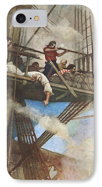 The Fight In The Fire-tops Against An English Ship IPhone Case by Newell Convers Wyeth