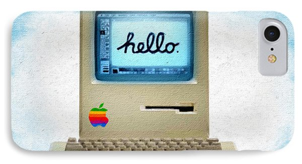 The First Apple Computer Painting Blue IPhone Case by Tony Rubino