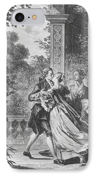 The First Kiss Of Love IPhone Case by Jean Michel the Younger Moreau