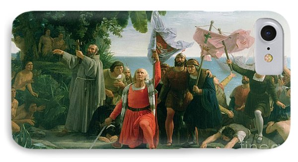 The First Landing Of Christopher Columbus IPhone Case by Dioscoro Teofilo Puebla Tolin