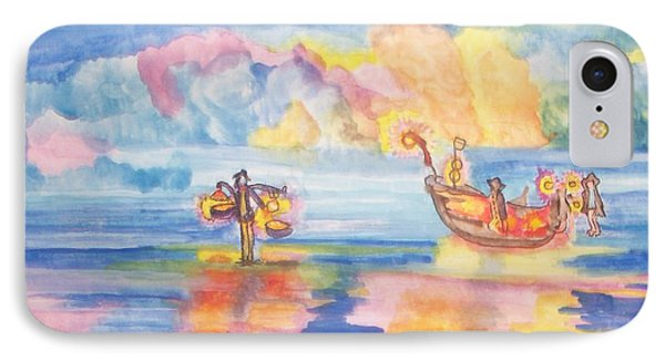IPhone Case featuring the painting The Fishermen Come Home by Connie Valasco