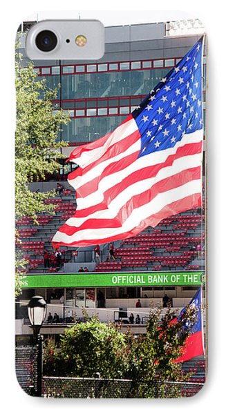 IPhone Case featuring the photograph The Flag Flying High Over Sanford Stadium by Parker Cunningham