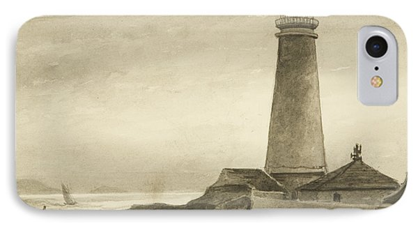 The Flat Holm Lighthouse IPhone Case by John Reverend Eden
