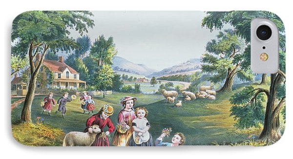 The Four Seasons Of Life Childhood IPhone Case by Currier and Ives
