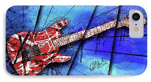 Van Halen iPhone 7 Case - The Frankenstrat On Blue I by Gary Bodnar