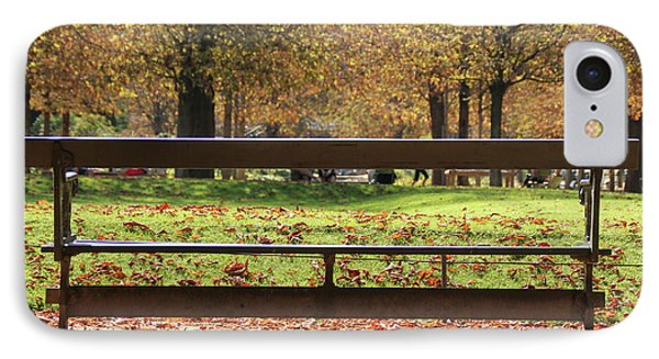 IPhone Case featuring the photograph The French Bench And The Autumn by Yoel Koskas