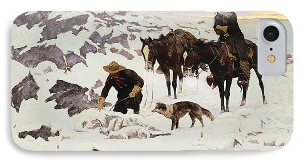 The Frozen Sheepherder Phone Case by Frederic Remington