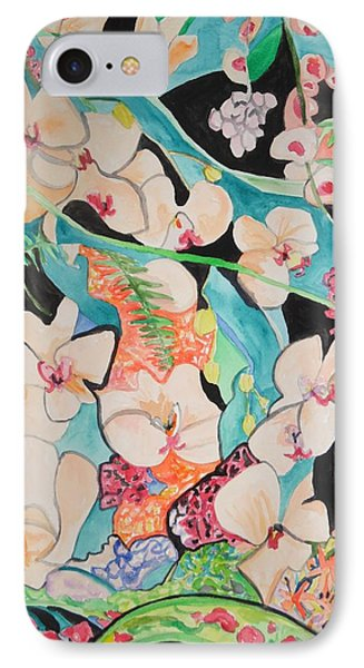 IPhone Case featuring the painting The Gallery Of Orchids 1 by Esther Newman-Cohen