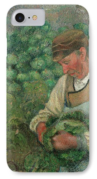 The Gardener - Old Peasant With Cabbage IPhone Case by Camille Pissarro