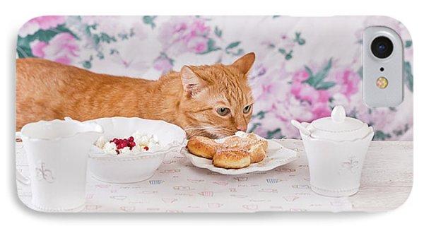 Ginger Cat Eats Breakfast IPhone Case by Oksana Ariskina