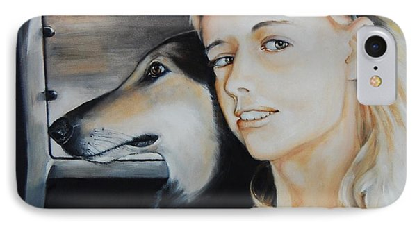 The Girl And Her Dog  IPhone Case by Jean Cormier