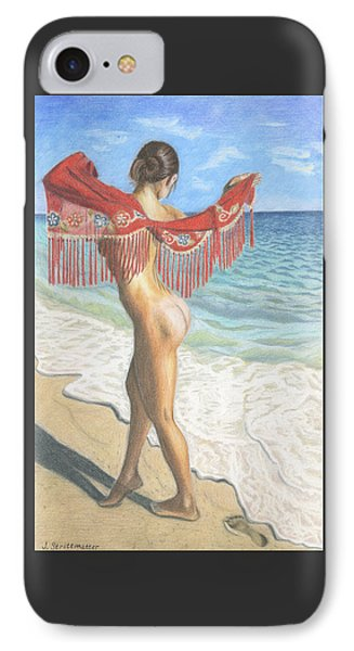 Nude Woman On The Ocean Beach IPhone Case by Julia Strittmatter