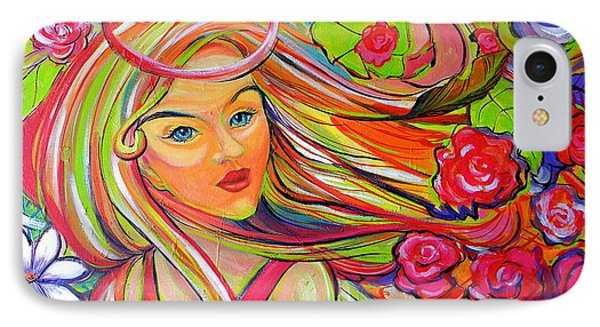 The Girl With The Flowers In Her Hair IPhone Case by Jeanette Jarmon