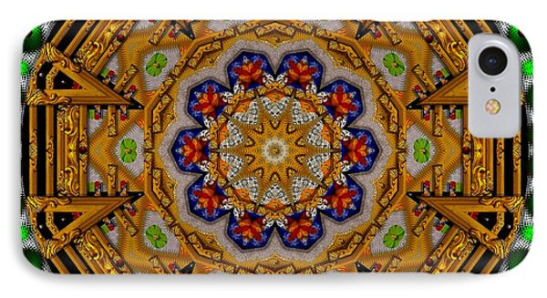 The Golden Sacred Mandala In Wood IPhone Case