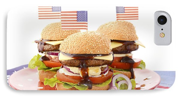 The Great Bbq Hamburger With Flags IPhone Case by Milleflore Images