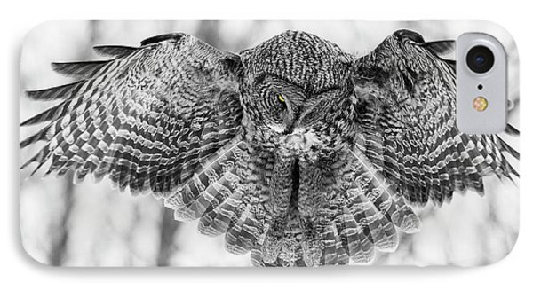 IPhone Case featuring the photograph The Great Grey Owl In Black And White by Mircea Costina Photography