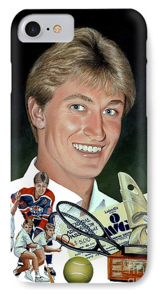IPhone Case featuring the painting The Great One - Oiler Days by Michael Swanson