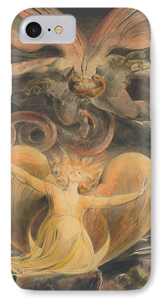 The Great Red Dragon And The Woman Clothed With The Sun IPhone Case by William Blake