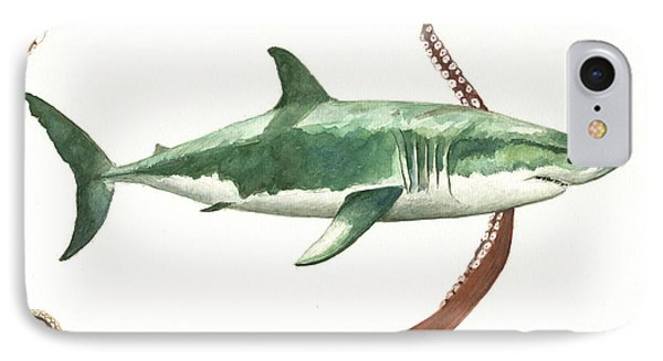 The Great White Shark And The Octopus IPhone Case by Juan Bosco