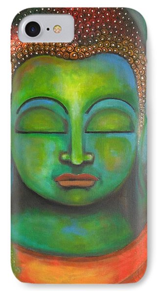 IPhone Case featuring the painting The Green Buddha by Prerna Poojara