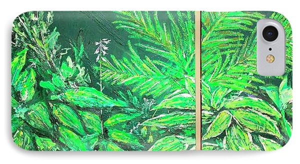 IPhone Case featuring the painting The Green Flower Garden by Darren Cannell