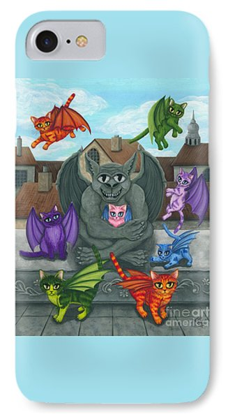 The Guardian Gargoyle Aka The Kitten Sitter IPhone Case by Carrie Hawks