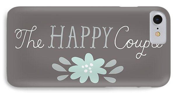 The Happy Couple Lettering With Flower IPhone Case by Gillham Studios