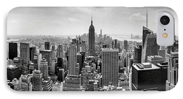 City Scenes iPhone 7 Case - New York City Skyline Bw by Az Jackson